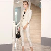 Белый деловой Элегантный женский костюм набор блейзеры и брюки офисные костюмы модный очаровательный роскошный нагрудный женский костюм