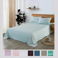 Multicolor 100% French Linen Flat Sheet King Bed Sheet Set King Queen Twin size 3 piece / lot