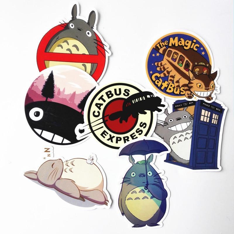 7pcs/lot Totoro Cute Waterproof Stickers Decal For Snowboard Laptop Luggage Car Fridge Car-Styling Vinyl Home Decor Pegatina