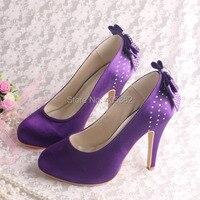 Wedopus MW100 Purple Satin High Heels Hot Wedding Shoes Platform Bow Back 10cm Heel Height