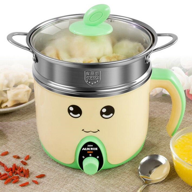 220V AUX Mini Multifunctional Electric Hot Pot Cooker 1.5L Noodle Cooker For Student Cooking Pot Stainless Steel cukyi multi functional programmable pressure cooker rice cooker pressure slow cooking pot cooker 4 quart 900w stainless steel