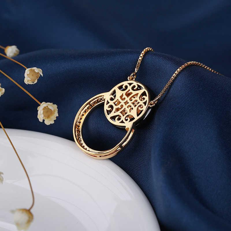 Novo Design Especial Rodada Colares Pingente de Cristal Para As Mulheres 585 Moda Jóias de Prata de Ouro Elegante Presente Saudável Cerâmica Preta