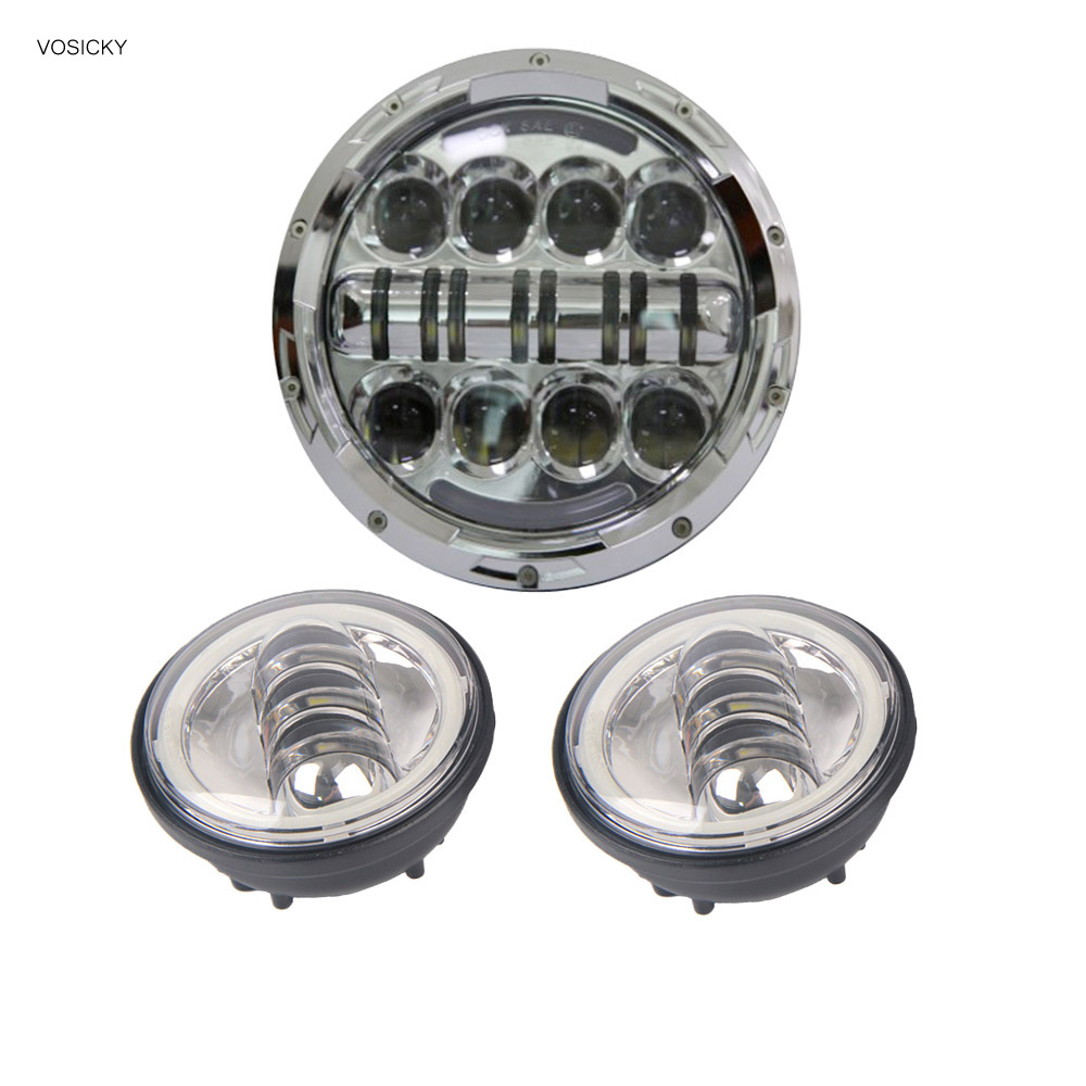 VOSICKY 80W 7 Inch Round Led Headlight Motor Daymaker for harley with 4.5 Fog Light Passing Lamps halo angel eye