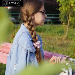 Image 3 - LilySilk 100% Pure Silk Scrunchiesชุด 5 แพ็คCharmeuseหัวผมBandอุปกรณ์เสริมCareหรูหราสีสุ่ม