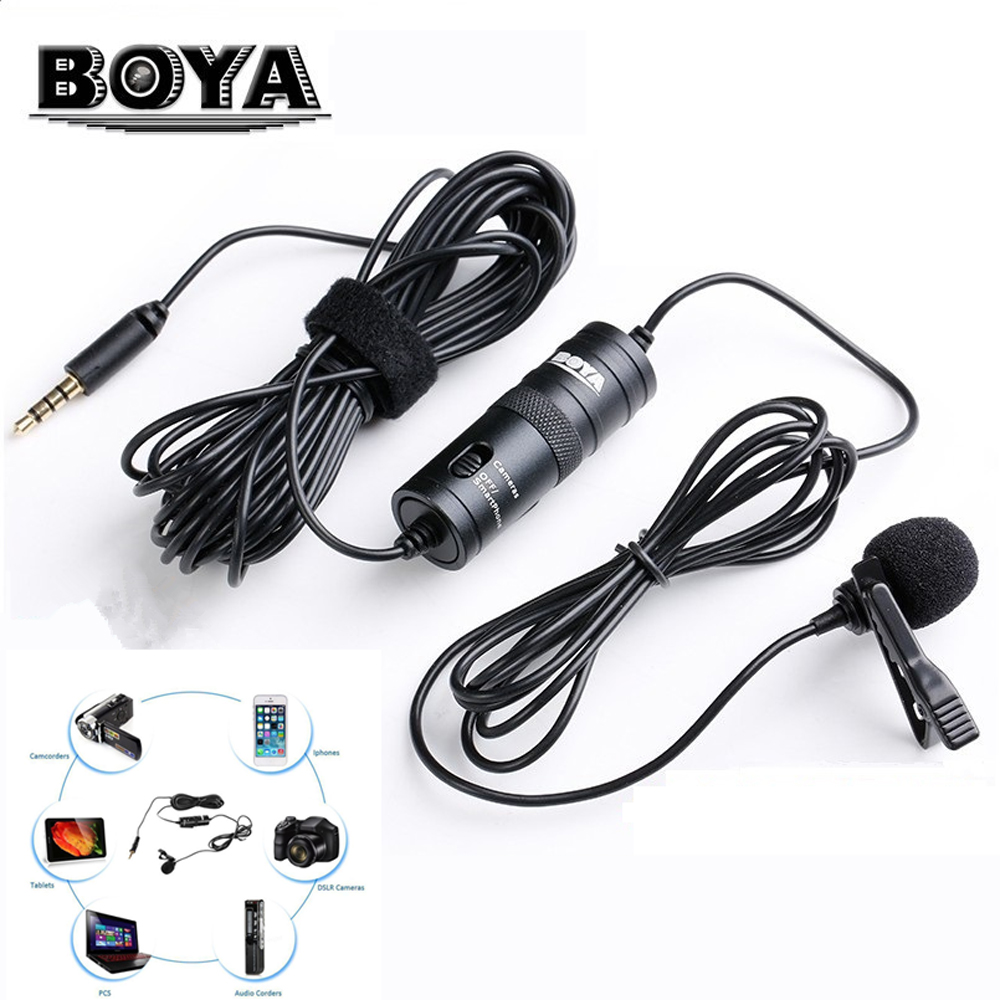 BOYA BY-M1 Lavalier Microphone BY M1 Camera Microphone Video Mic Recorder for iPhone Smartphone Canon Nikon DSLR Zoom Camcorder boya by wm5 lavalier clip on mic audio studio recorder wireless microphone microfone for canon sony gopro dslr camera camcorder