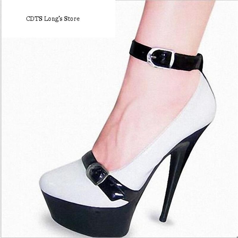 ФОТО CDTS 2016 shoes woman spring/autumn Ankle Strap Round Toe 15cm high heels platform wedding pumps,Big 35-45 46