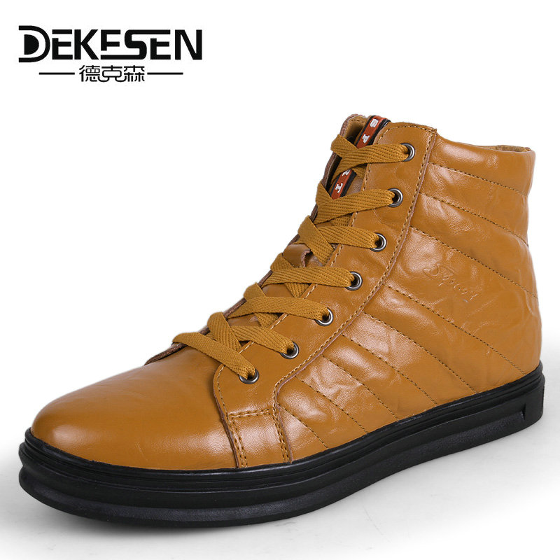 DEKESEN New Mens Genuine Leather Shoes 2017 Fashion High top Winter Shoes Lace up Ankle Boots Autumn Shoes mens Footwear lovers front lace up casual ankle boots autumn vintage brown new booties flat genuine leather suede shoes round toe fall female fashion