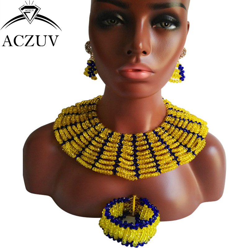 ACZUV Brand Nigerian Wedding African Beads Jewelry Set Yellow and Royal Blue Crystal AS011 стоимость