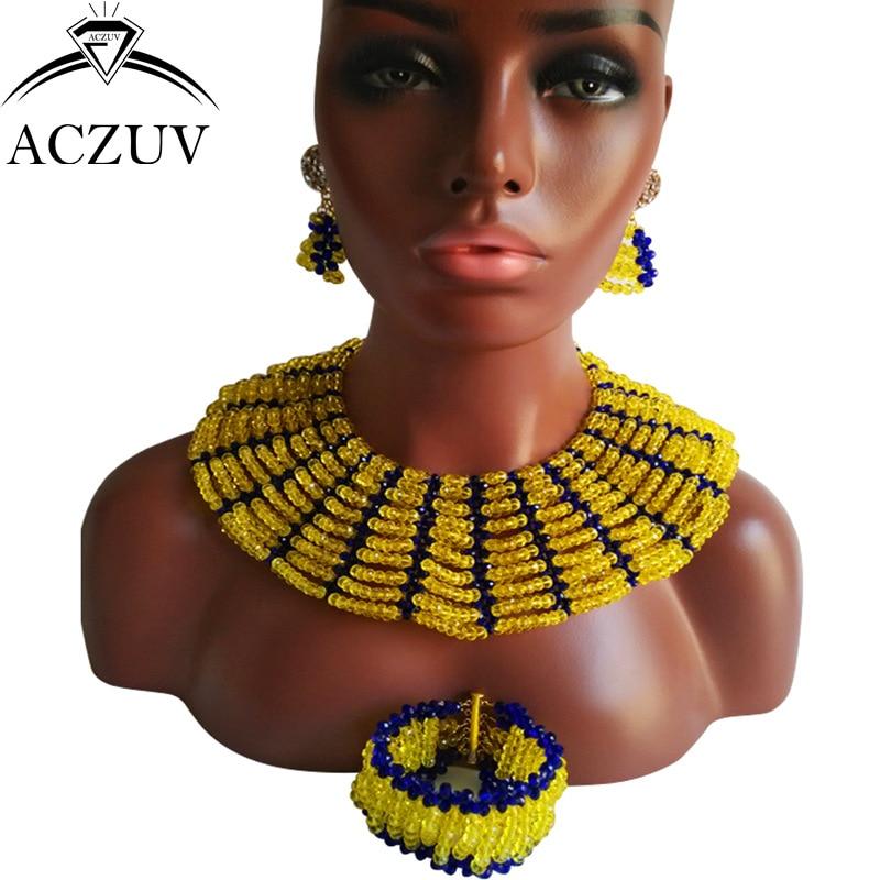 ACZUV Brand Nigerian Wedding African Beads Jewelry Set Yellow and Royal Blue Crystal AS011