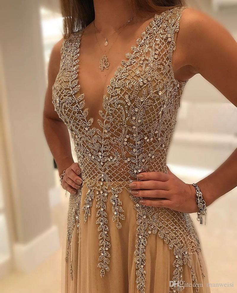 New Style Beaded Long <font><b>Prom</b></font> <font><b>Dresses</b></font> 2019 vestidos de gala <font><b>Sexy</b></font> Backless V-neck Tulle Party Formal Gowns For Women image