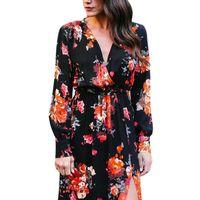 Summer Autumn Boho Style Women Long Dress Floral Print Vintage Chiffon Elegant Dress Newest Style 2018