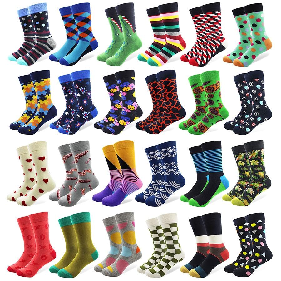 1 Pair Male Cotton Socks Colorful Striped Jacquard Art Socks Hit Color Dot Long Happy Funny Skateboard Socks Mens Dress Sock