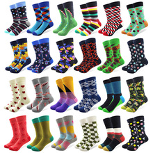 1 par mannlige bomullssokker Colorful Striped Jacquard Art Socks Hit Color Dot Long Happy Morsomme Skateboard Socks Menns Dress Sock