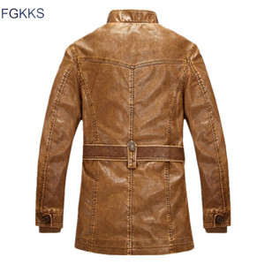 Image 2 - FGKKS Winter Men Leather Suede Jacket Fashion Brand Quality Fleece Lined Motorcycle Faux Leather Coats Male Leather Jackets