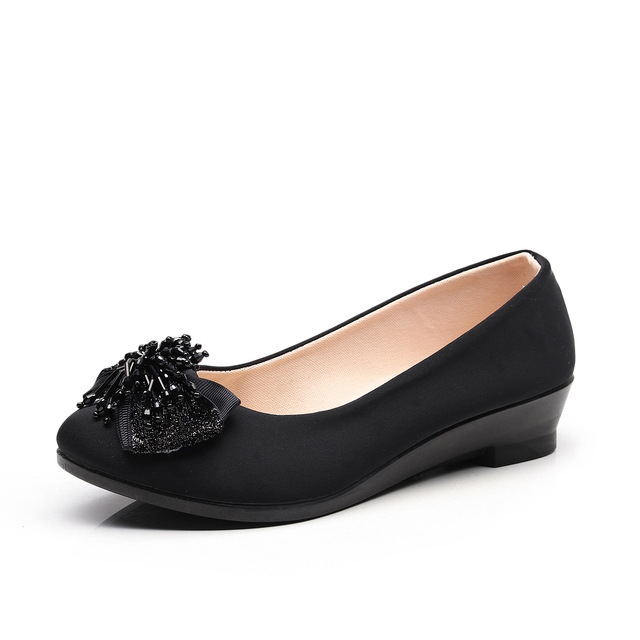 Women Ballet Bow Shoes Black Women Wedges Shoes For Office Work Boat Shoes Cloth Sweet Loafers Womens Pregnant Wedges Shoes