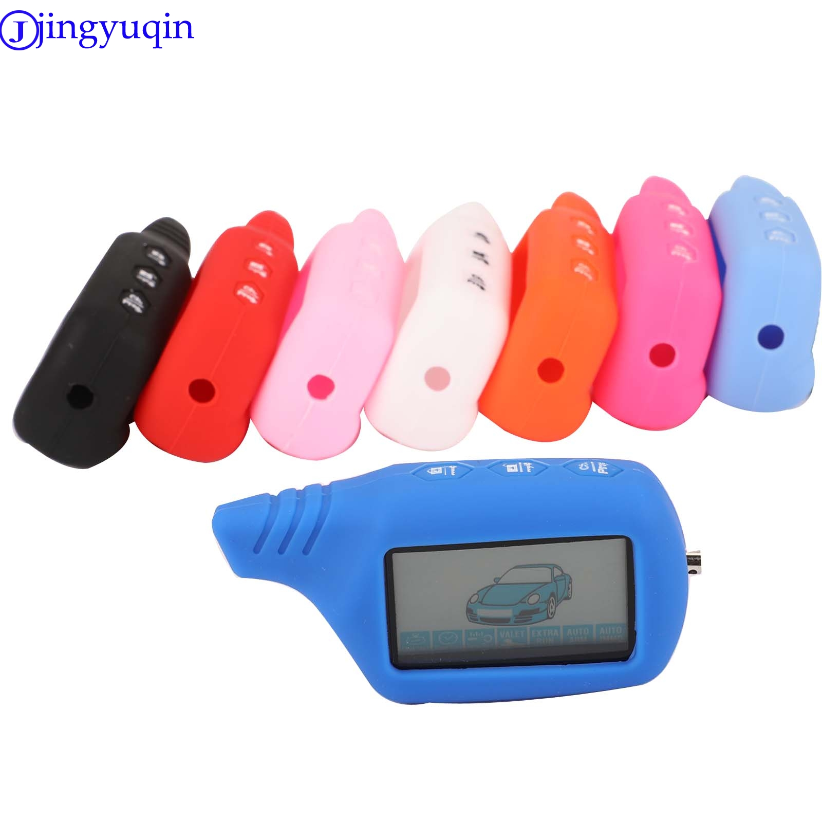 Jingyuqin Case-Cover Keychain Car-Remote-Alarm-System Silicone For Original A61/V7 LCD