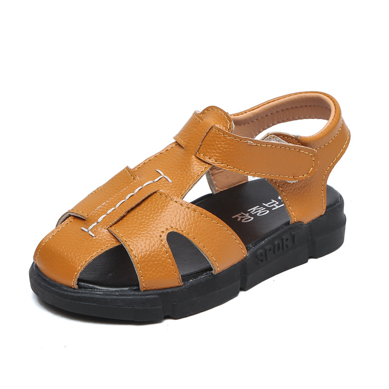Boys summer sandals yellow faux leather kids sandals children girls black beach shoes for kids sports beach shoes for children
