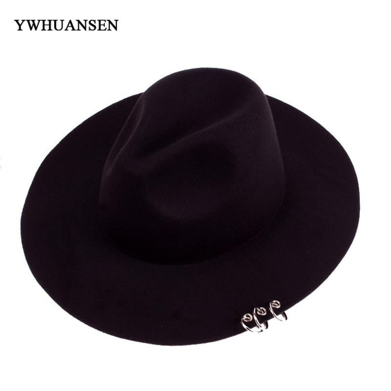 new Wide Brim pin Metal Rings Black Flat caps Brim Felt Jazz Formal Fedoras  Autu Winter Wo Bowler Solid Women Hats bb6294ce455