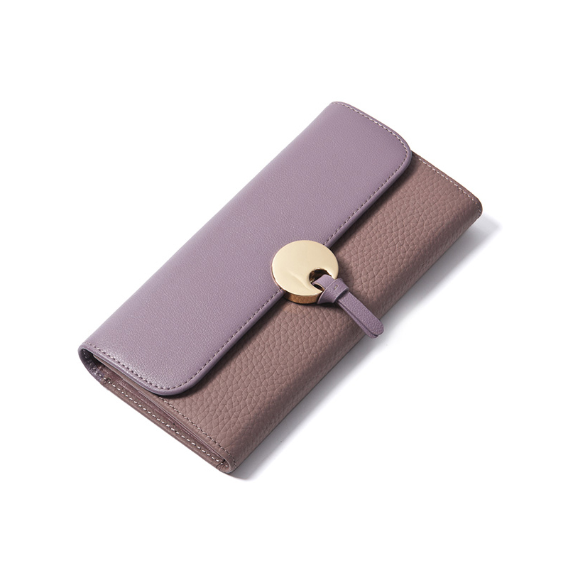 ФОТО Purple Ladies Wallet Genuine Leather Purse Clutch Women Luxury Brand Wallets Female Patchwork Designer Vintage Long Wallet Thin