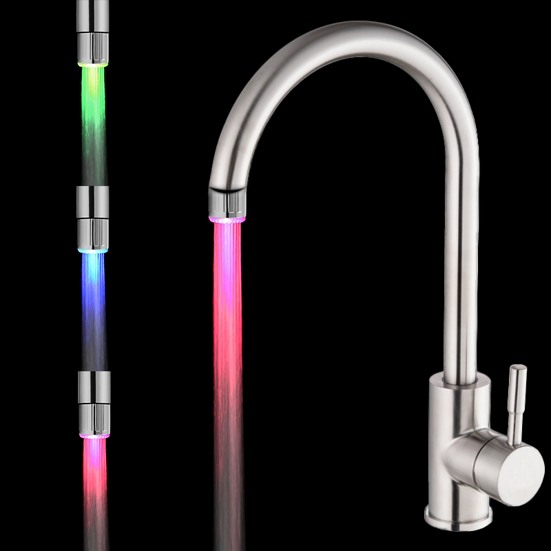 7 Colors LED Water Faucet Lights Colorful Changing Glow Shower Head Kitchen Tap Aerators for Kitchen Bathroom Products 7 colors changing led water faucet light glowing shower head kitchen tap aerators new high quality