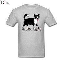 Divertente Border Collie Cane Tee Shirt uomo Top Design Bianco Manica Corta Personalizzata Big Size Dog Lover T Shirt