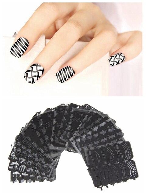 #06-#42 Estilos Mezclados Nails Tips Polaco Belleza Tatuajes de Nail Art Plantilla Hollow Pegatinas de Usos Múltiples de Maquillaje Herramienta de la plantilla de