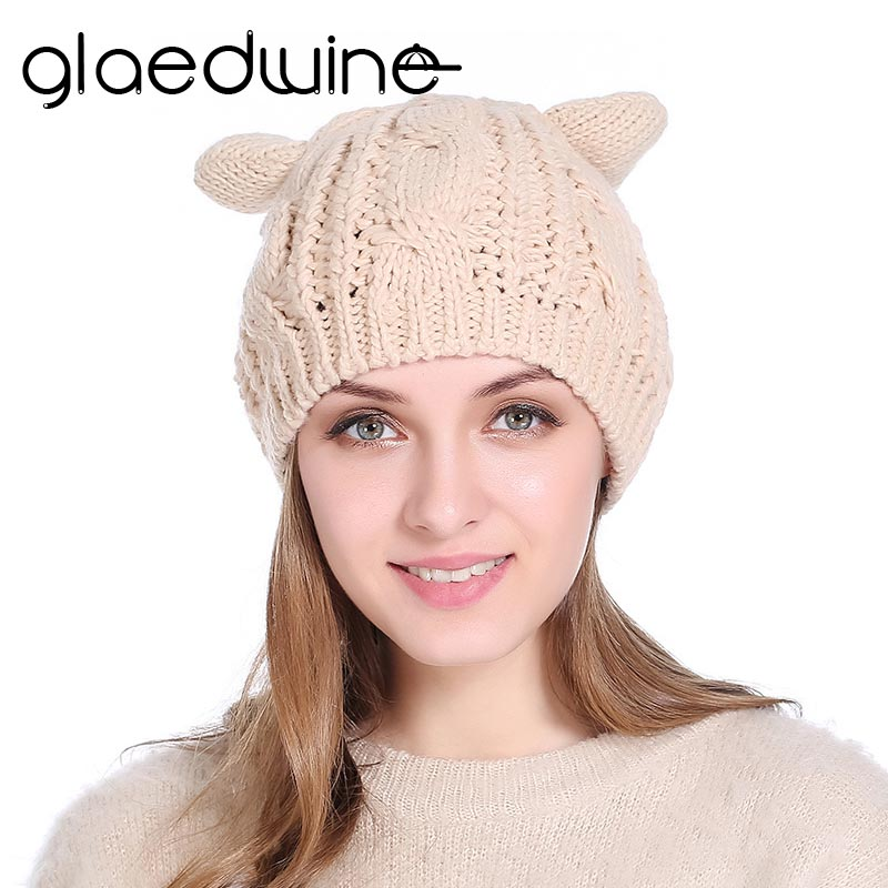 Glaedwine Autumn Winter Wool Womens Hat Knitted Hat Cat ears Labeling Thick Plush Hot Female hip hop Head Cap Hat   Beanies   Gorros