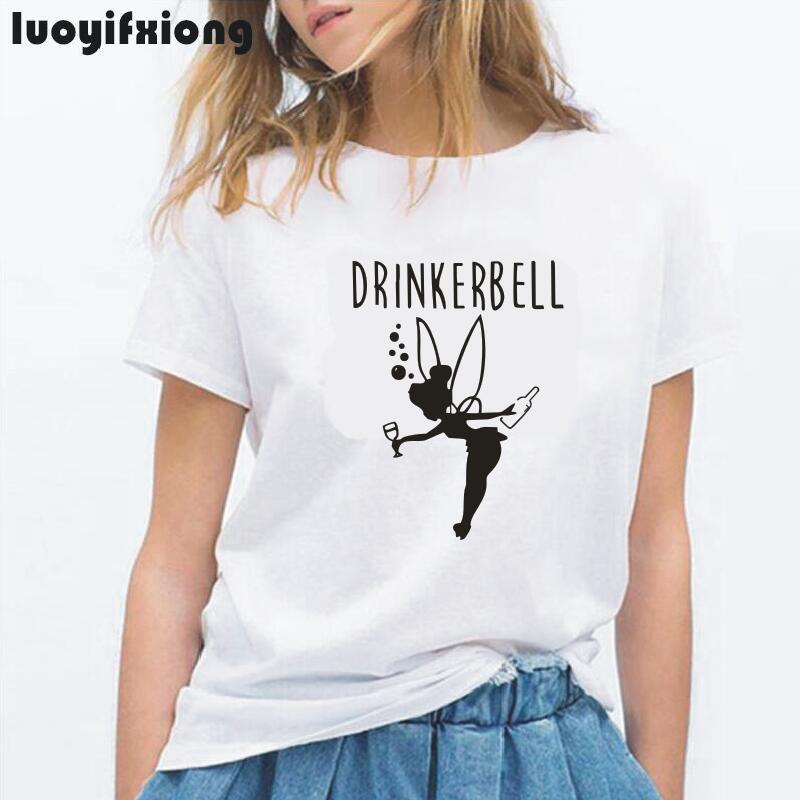 Drinkerbell Letter Printed Funny   T     Shirt   Women Tops Short Sleeve Harajuku Tee   Shirt   Femme Casual Women Tshirt Camiseta Mujer