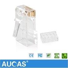 AUCAS UTP connector network cable plug 8P8C Network CAT6 Modular Plug Connector 2pcs suit Free Shipping