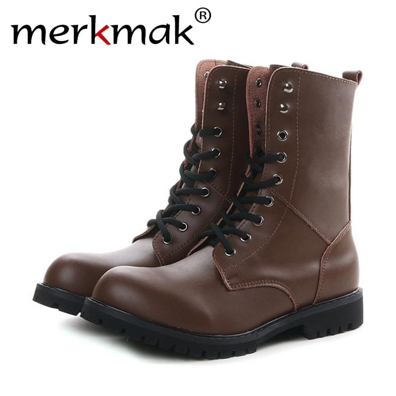 Merkmak Genuine Leather Martin Ankle Men Boots Fashion Spring Winter Snow Warm Plush Fur Botas Motorcycle Unisex Boot Size 38-49