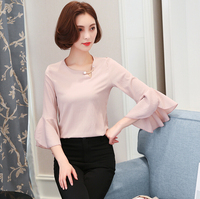 Latest Shirt Designs For Women Office Wear Summer Korean Style Loose Chiffon Blouse Solid Color Long