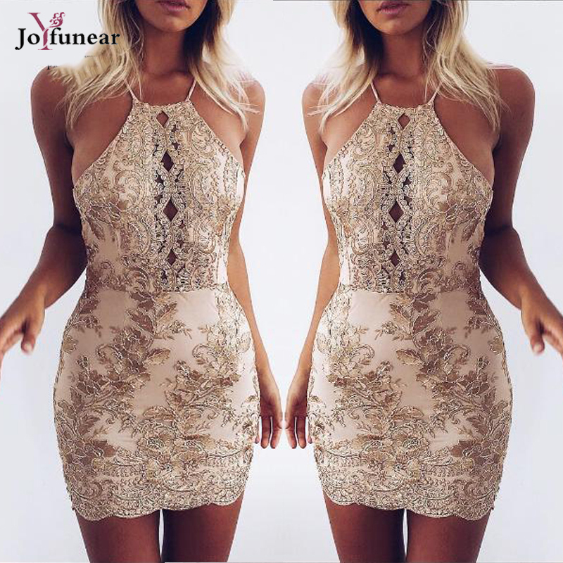 Women Halter Backless Halter Backless Sequins Dresses Fashion Summer New Woman Sexy Slim Party Dress Vintage Tank Club Dresses