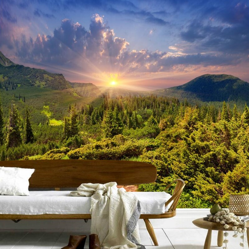 Custom 3D mountains Sunrises and sunsets Forest Trees Rays of light Nature papel de parede,living room TV wall bedroom wallpaper