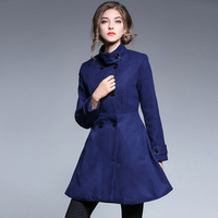 Spring Autumn new Fashion Overcoat Women Long Standing collar Woolen Jackets Women Double breasted Red Blue Outerwear Coat NO901