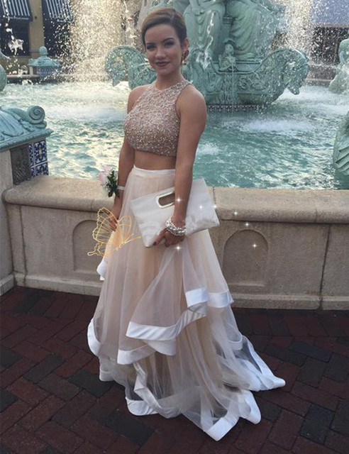 Honey Qiao Prom Dresses Tulle A Line Two Pieces 2017 Nude Scoop Sheer Back  Floor Length f85a9508f6f8
