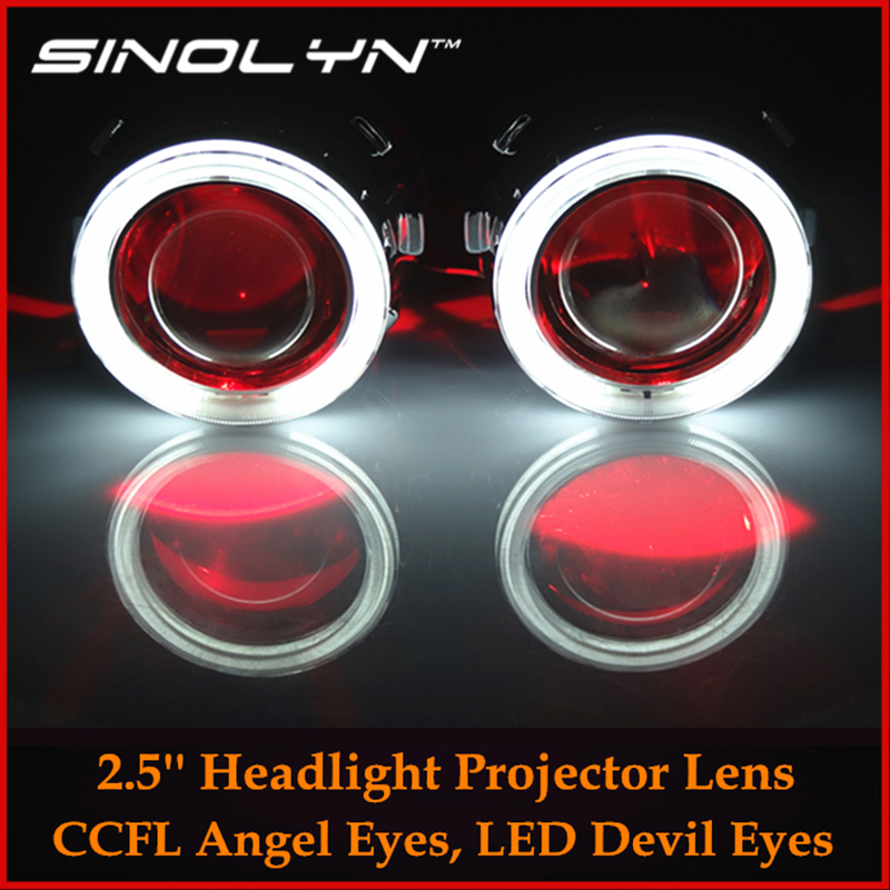 Car/ Motorcycle Styling Retrofit HID 2.5 Bixenon Projector Lens Headlight H4 H7+Angel Eyes Halo LED Devil Demon Eye Headlamp sinolyn led angel eyes car projector lens hid bixenon headlight devil evil eyes headlamp retrofit kit for car motorcycle styling