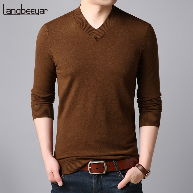 2019 New Fashion Brand Sweaters Man Pullovers V Neck Slim Fit Jumpers Knitwear Warm Autumn Korean Style Casual Mens Clothes Ample Supply And Prompt Delivery