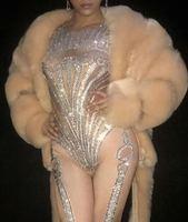 Для женщин костюм на заказ сверкающий бриллиант высокого класса люкс меховой комбинезон певица Женский DJ костюм вечерние празднование дня
