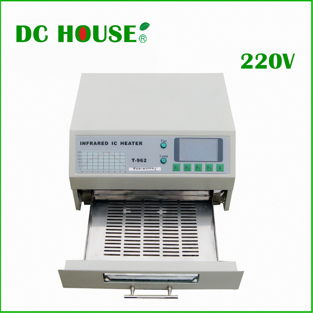 EU Stock T962 Digital Infrared IC Heater Reflow Oven SMD solder BGA area 180 * 235mm 800W Free shipping цена