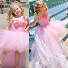 Flower Girls Soft Tulle Tutu Dress Pink and Lt Pink with Lace Children Dress Wedding Bridesmaid Pageant Attire TS112