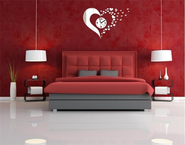 Lovely Heart Shaped Mirror Wall Clock Assembling Set