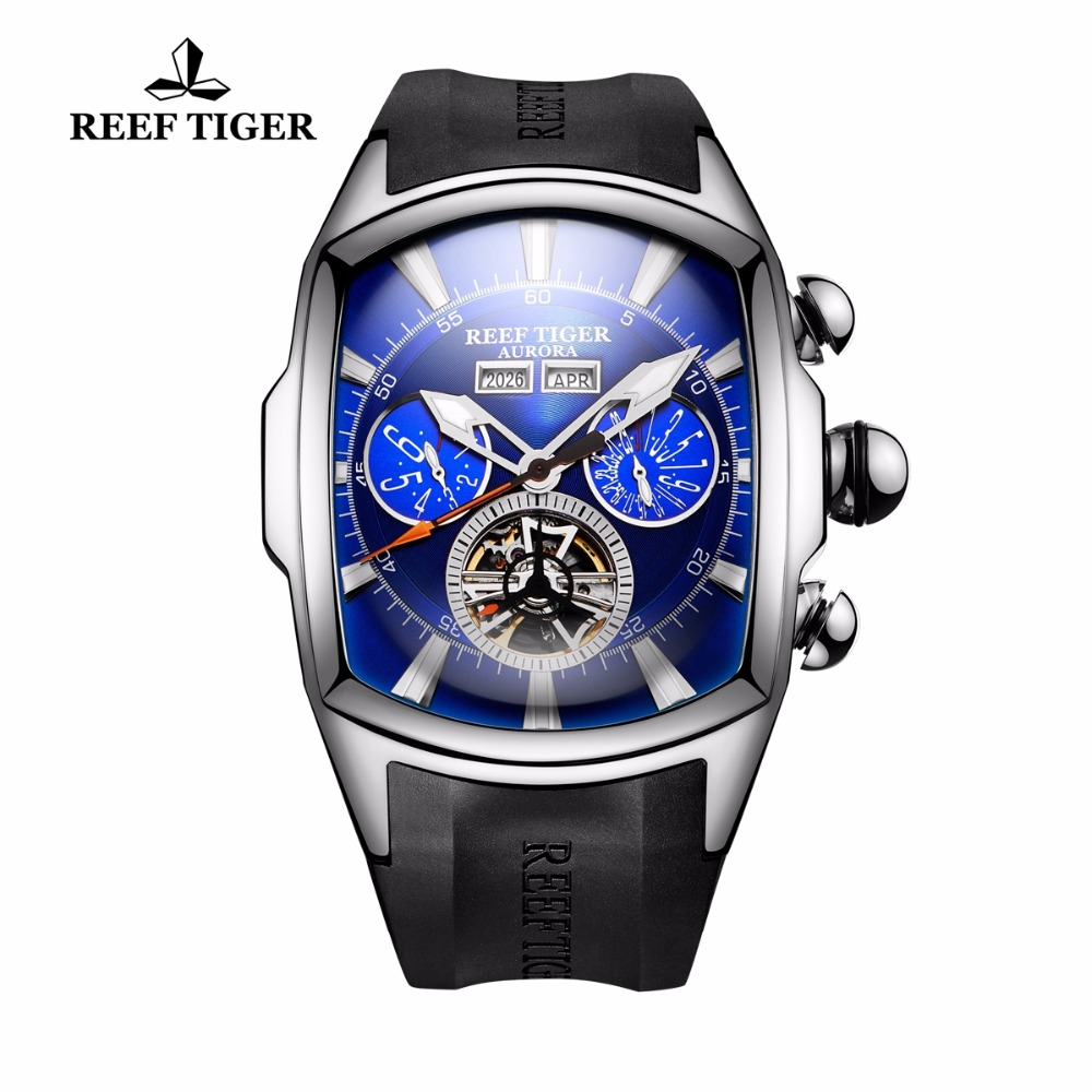 Reef Tiger / RT Designer Sport órák Tourbillon Blue Dial Analóg - Férfi órák