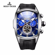 Reef Tiger / RT Designer sporthorloges Tourbillon blauwe wijzerplaat analoge display Horloges Rubberband lichtgevend horloge voor heren RGA3069