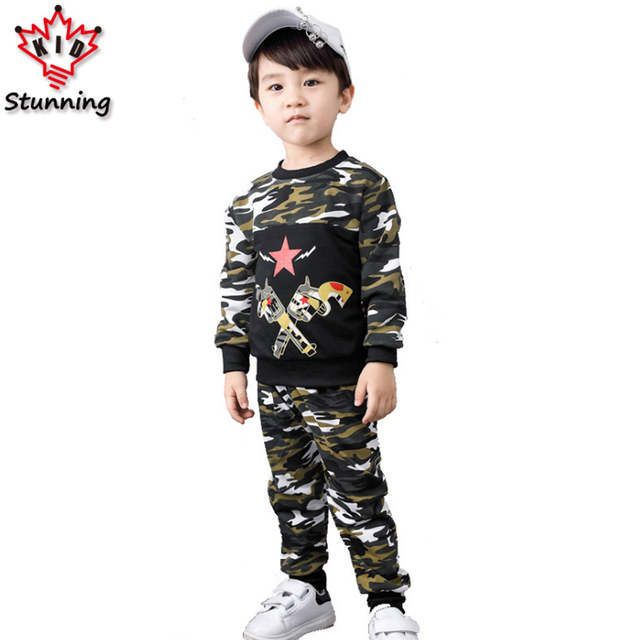 3-6T Camouflage Style Baby Boys Clothes Suit Thicken Long Sleeve Boys Clothing Sets Casual O-Neck Children Clothing for Boys