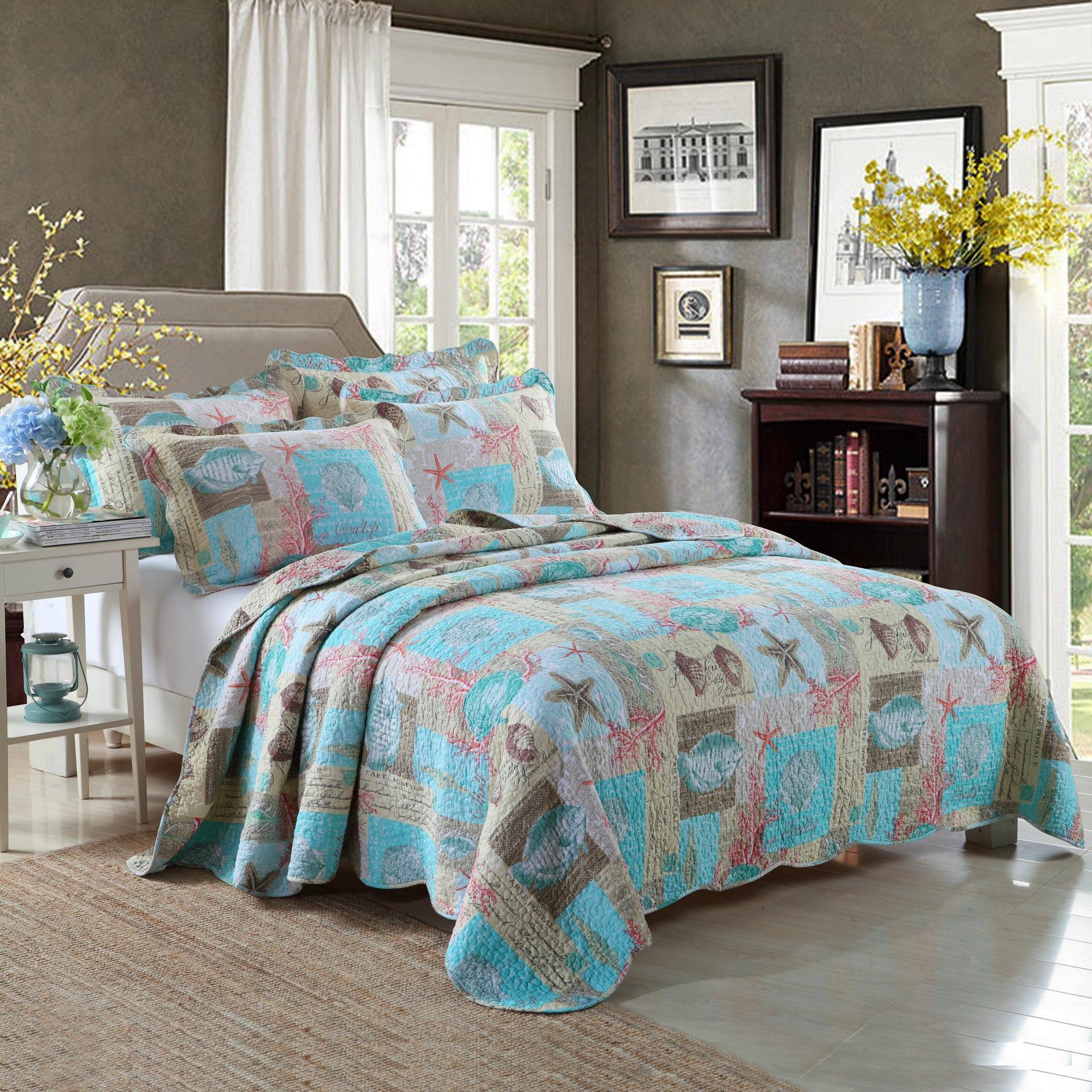 Ultra Soft Coral Ocean Bedspread Quilt Set Turtle Fish Seashells Beach Theme Print Quilt Set Comforter