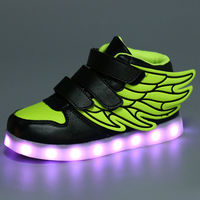 2016 New Kids Sneakers Fashion USB Charging Luminous WINGS LED Lights Sneakers Girls Boys Casual Flat