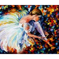 Hand Painted Palette Knife Painting Portrait Ballerina Lacing Modern Art Oil On Canvas Room Decor