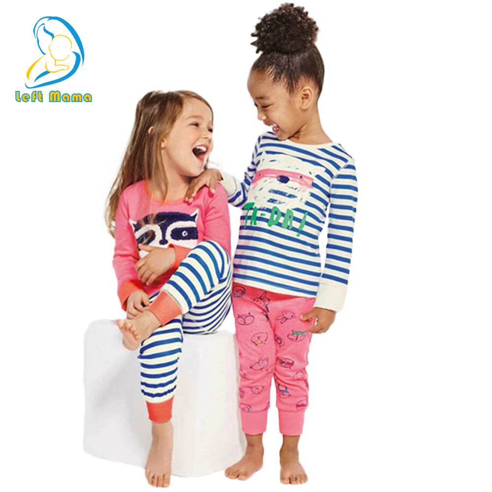 Children Clothes Set for Girls 2018 Spring Autumn Pajamas Suit Kids Long-sleeved Striped Cartoon Tshirt+Pants Girl Clothing Sets autumn winter girls children sets clothing long sleeve o neck pullover cartoon dog sweater short pant suit sets for cute girls