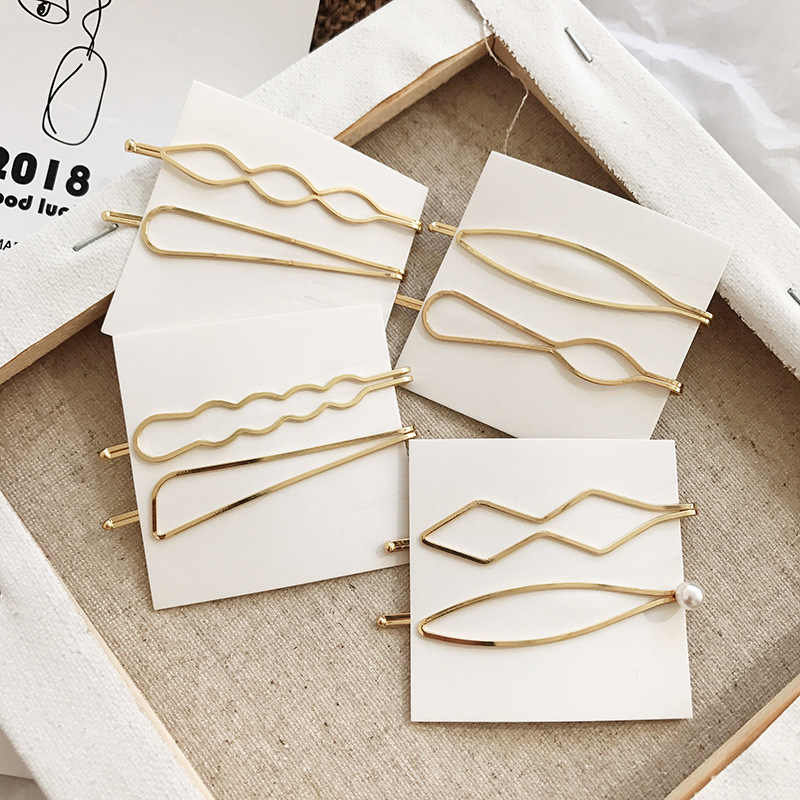 2/4Pcs/set Korea Simple Metal Hair Clips for Women Geometric Rhombus Gold Silver Color Hairpins Hair Accessories