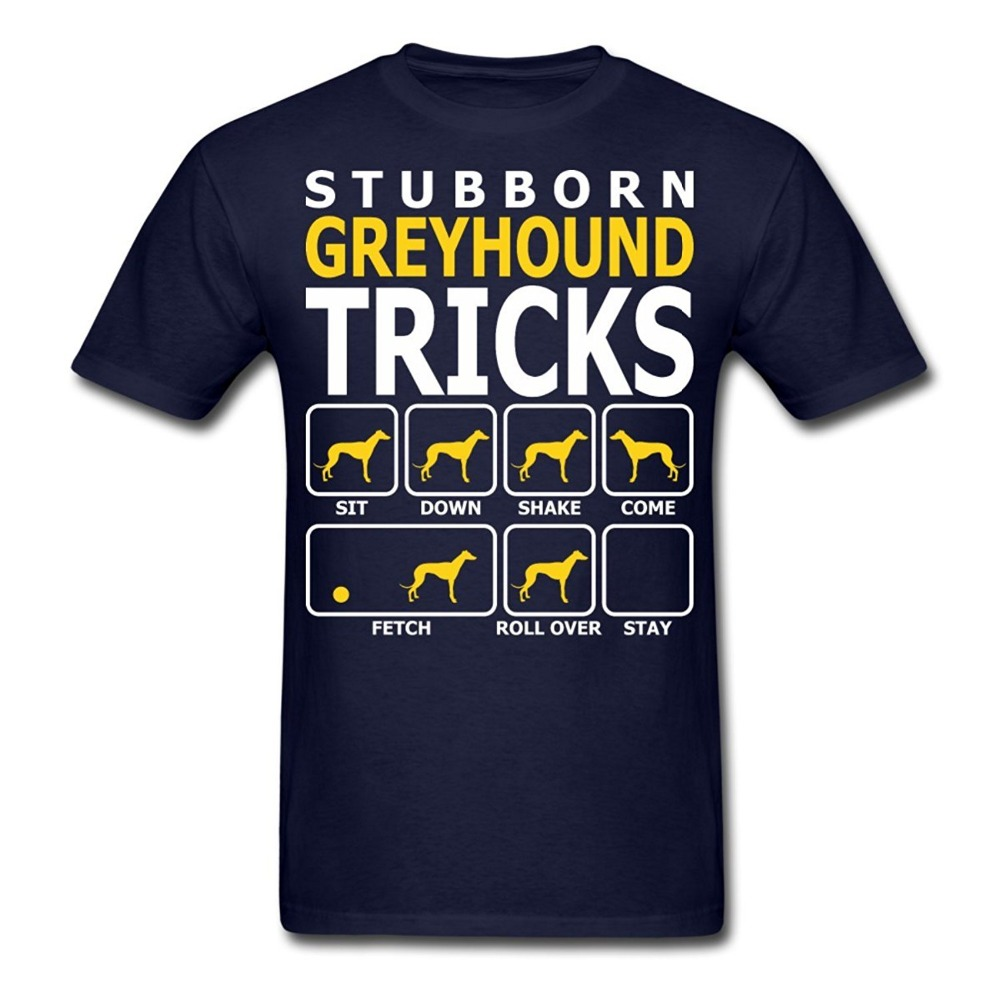 Summer New Cotton T Shirt Printing Men Dogs Stubborn Greyhound Tricks O-Neck Short-Sleeve Shirt